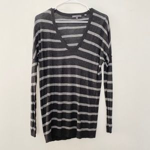 VINCE Small Striped V Neck Wool Blend Long Sleeve